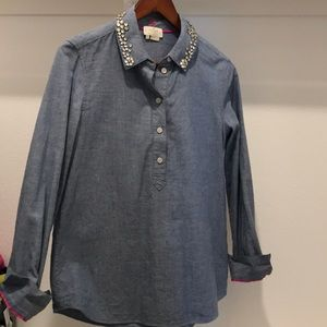 Kate Spade Chambray Embellished Long Sleeve Top